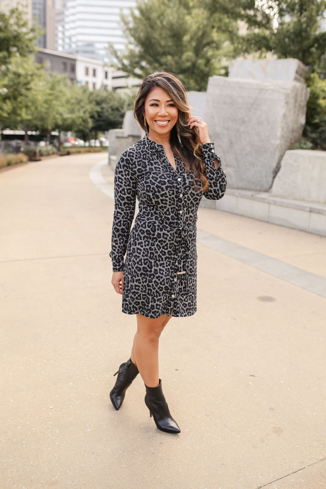 leopard dress, animal print dress, michael kors dress, fall fashion, fall lookbook, fall style,
