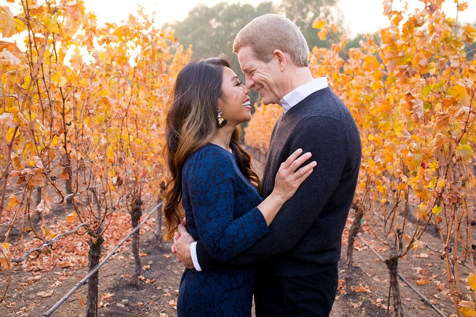napa valley vineyards, couple enjoying napa, napa engagement, napa couple